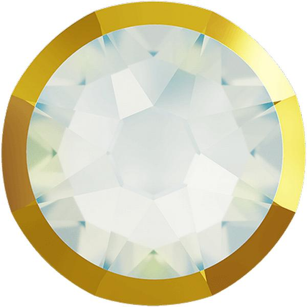 Swarovski 2088/I Rimmed XIRIUS Rose Flat Back White Opal with Dorado Rim SS20
