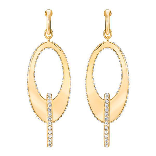 Swarovski Collections - Lakeside Hoop Pierced Earrings, Crystal, Gold Plating