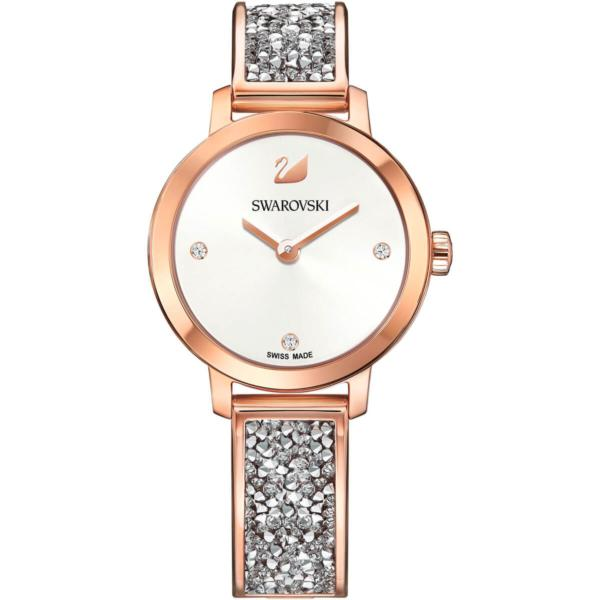 Swarovski Collections Cosmic Rock Watch, Metal Bracelet, Gray, Rose-Gold Tone PVD