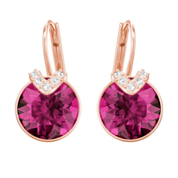 0a0df6ee3 Swarovski Collections - Bella V Pierced Earrings Fuchsia Rose Gold Plating  | Dreamtime Creations