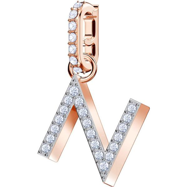 Swarovski Remix Collection Charm N, White, Rose-Gold Tone Plated