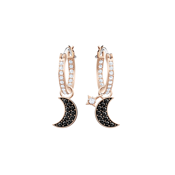 b3fe296e4 Swarovski Collections Duo Moon Hoop Pierced Earrings Black Rose gold  plating | Dreamtime Creations
