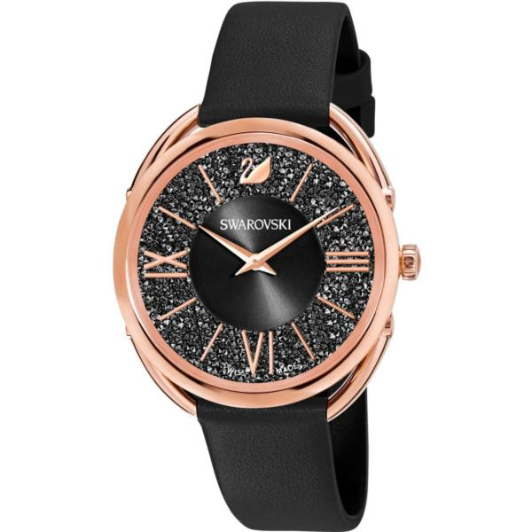 Swarovski Collections Crystalline Glam Watch, Leather Strap, Black, Rose-Gold Tone PVD