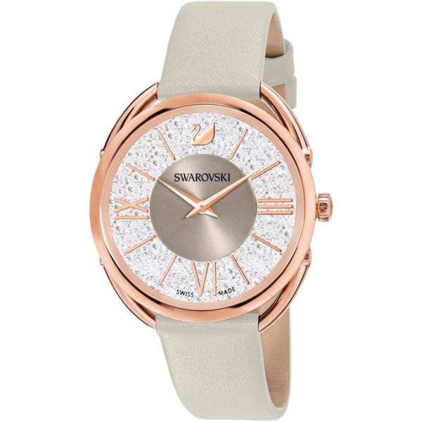 Swarovski Collections Crystalline Glam Watch, Leather Strap, Gray, Rose-Gold Tone PVD