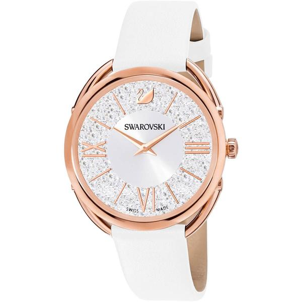 Swarovski Collections Crystalline Glam Watch, Leather Strap, White, Rose-Gold Tone PVD