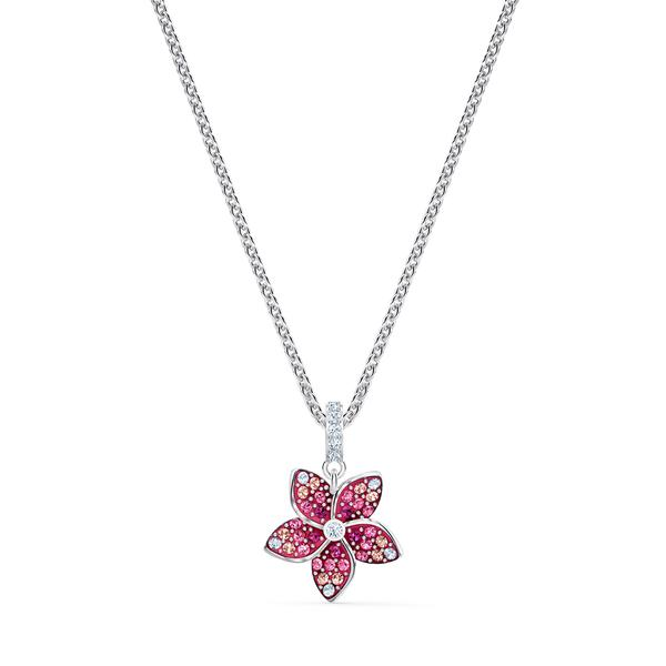 Swarovski Collection Necklace Tropical Pendant Leaf Light Multi Rhodium Silver
