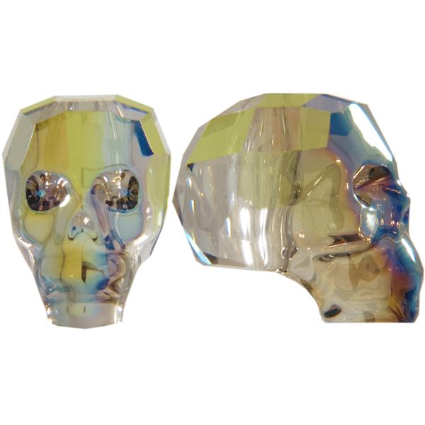 Swarovski 5750 Skull Bead Crystal Iridescent Green 19mm