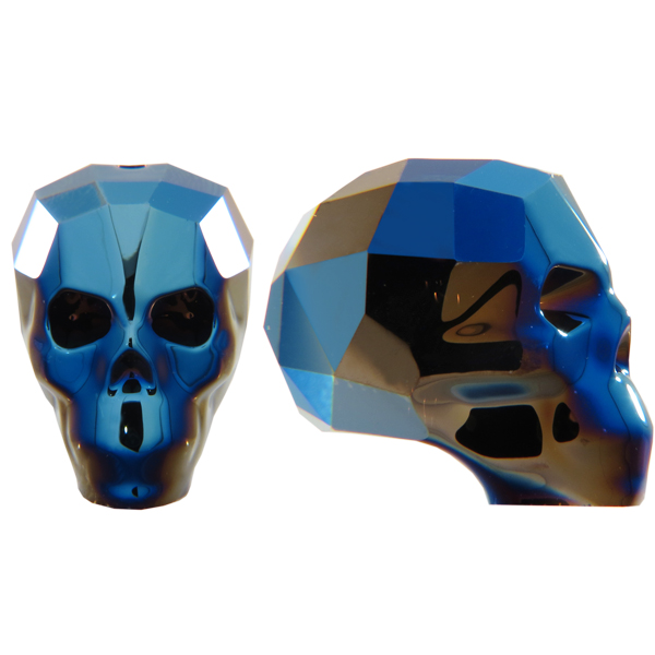 Swarovski 5750 Skull Bead Crystal Metallic Blue 2X 19mm