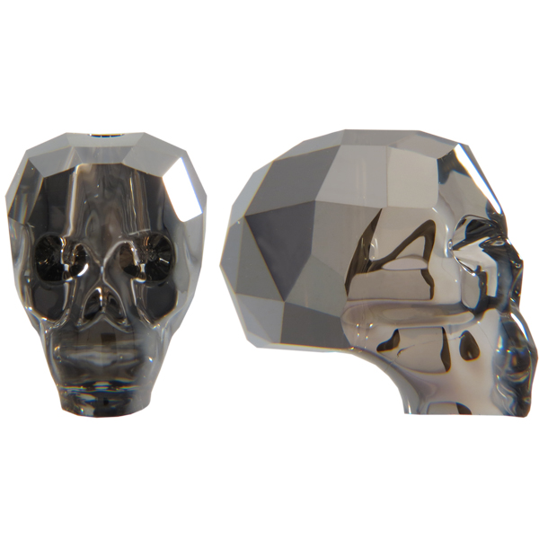 Swarovski 5750 Skull Bead Crystal Silver Night 19mm