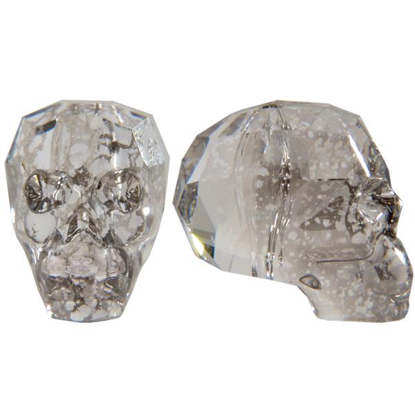 Swarovski 5750 Skull Bead Crystal Silver Patina 19mm
