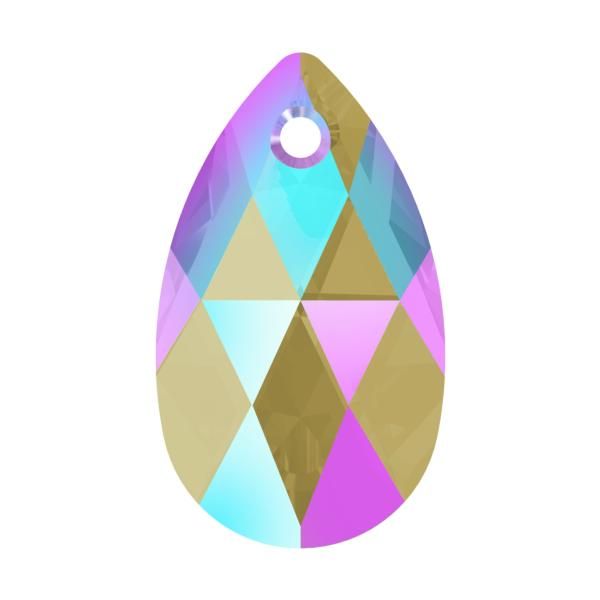 Swarovski 6106 Pear Shaped Pendant Black Diamond Shimmer 16mm