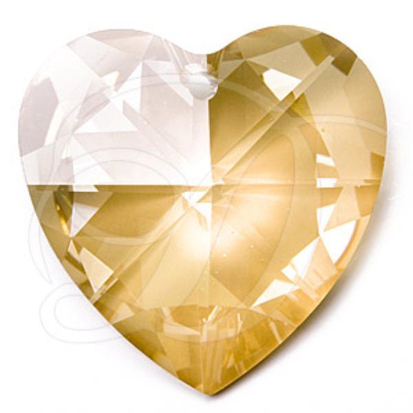 c89253ef3b9be Swarovski 6202 Heart Shaped Pendant Crystal Golden Shadow 40mm