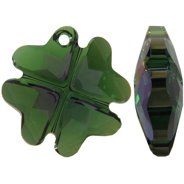 Swarovski 6764 Clover Pendant Dark Moss Green Purple Haze 23mm