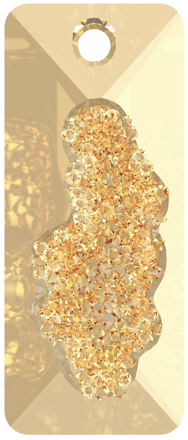 Swarovski 6925 Growing Crystal Rectangle Pendant Crystal Golden Shadow 36mm