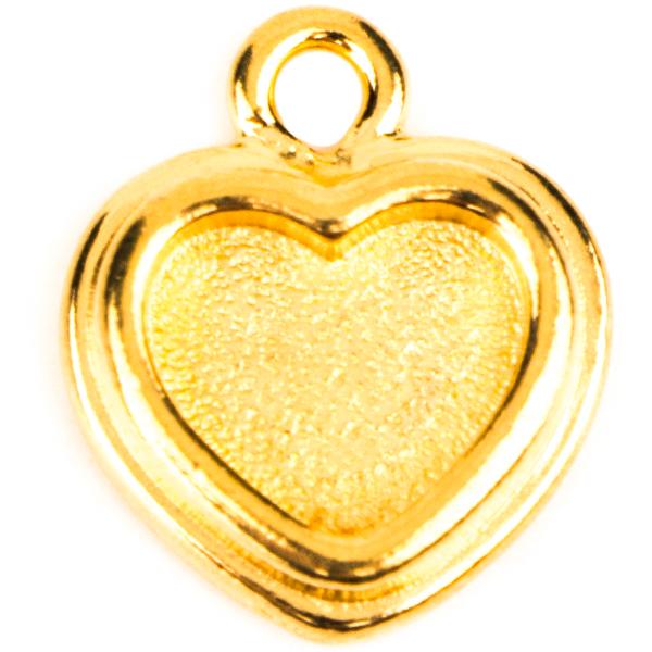 TierraCast® Charm, Stepped Heart Bezel, Gold plated