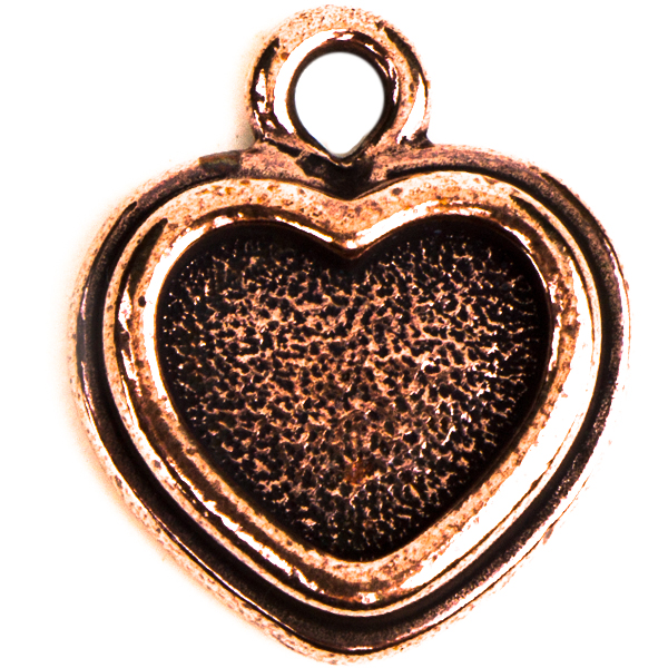 TierraCast® Charm, Stepped Heart Bezel, Antique Copper plated