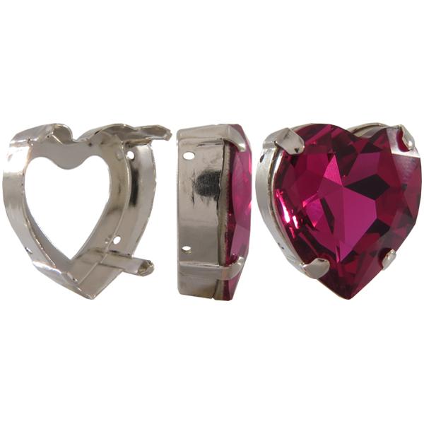 Sew on Setting for 4827 28 mm Heart Fancy Rhinestone (Brooch Rhinestone)