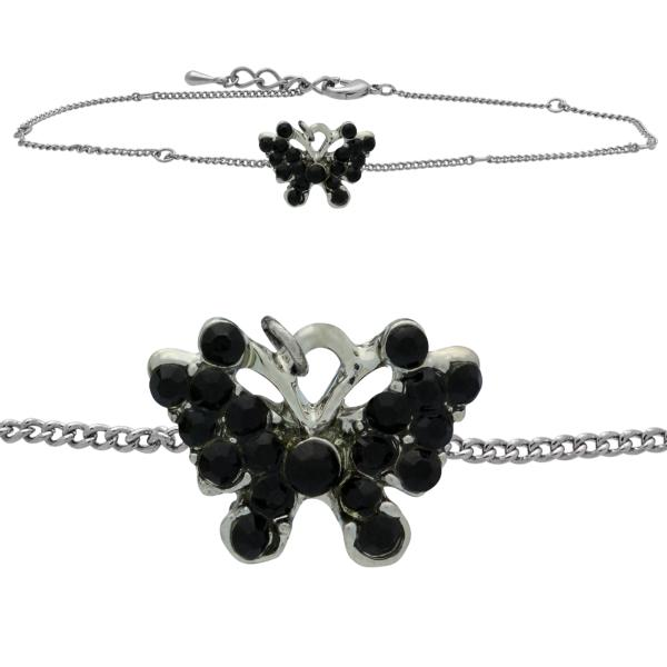 Butterfly Anklet made with Crystals from Swarovski Jet
