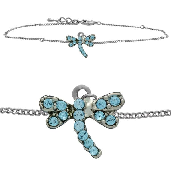 Dragonfly Anklet made with Crystals from Swarovski Aqua