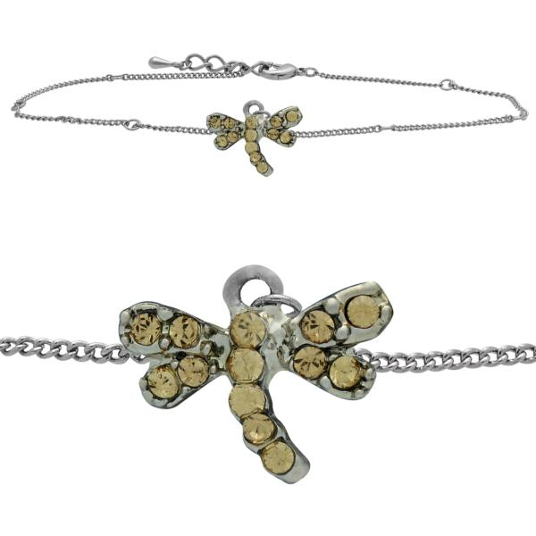 Dragonfly Anklet made with Crystals from Swarovski Light Colorado Topaz