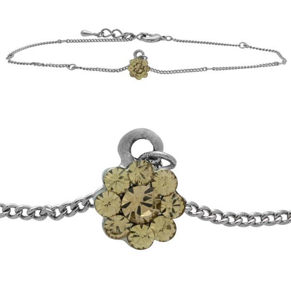Flower Anklet made with Crystals from Swarovski Light Colorado Topaz