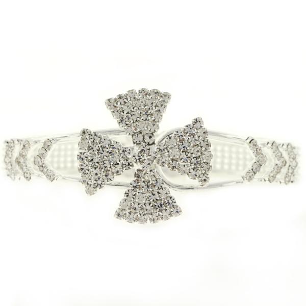 Cross Cuff Rhinestone Bracelet, Crystal/Silver