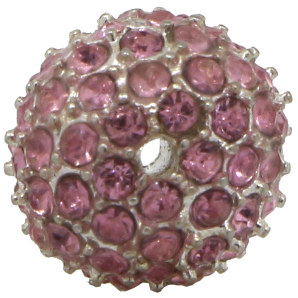 Beadelle® Pave Crystal Bead Light Rose/Silver 10mm