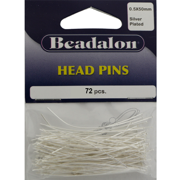Head Pins, 1.97 in (50 mm), Silver Plated, 72pcs