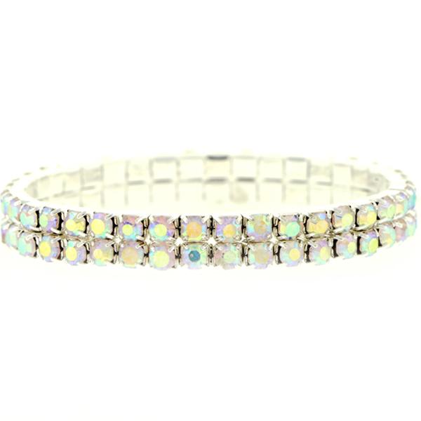 2 Row Stretch Bracelet, Crystal AB/Silver