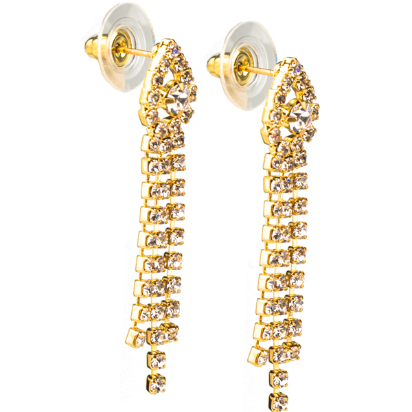 "1 1/2"" Rhinestone Dangle Gold Earring"