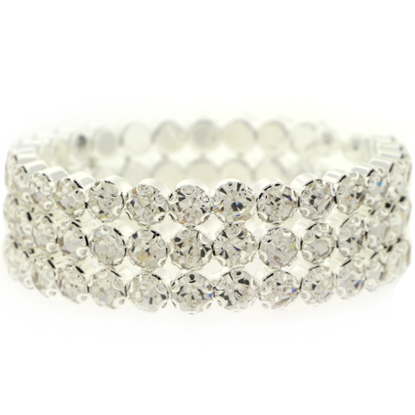 3 Row Cuff Rhinestone Bracelet, Crystal/Silver