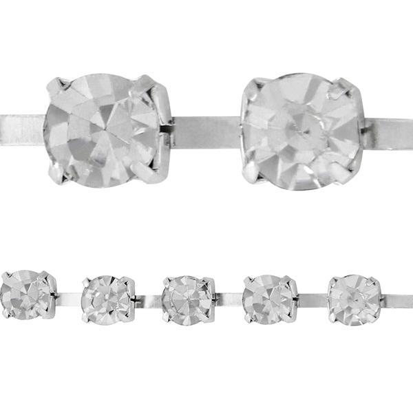 Rhinestone Cupchain 5mm (ss20) Crystal Silver Plated
