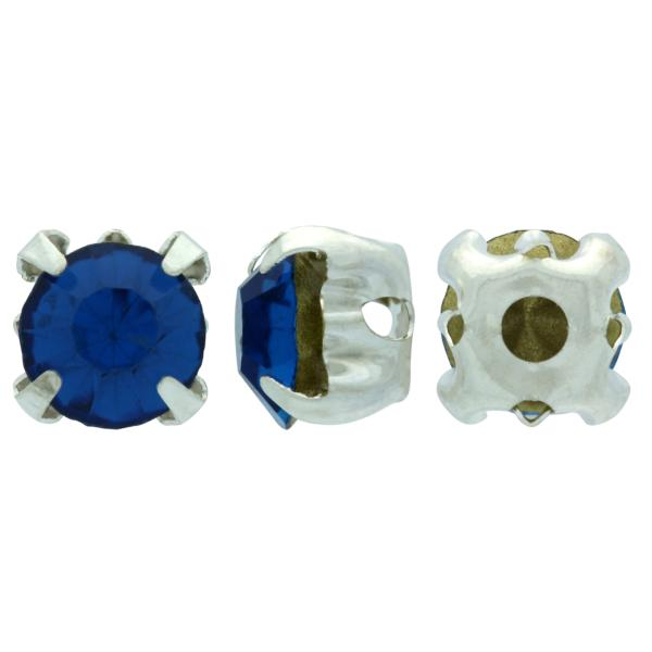 Sew On Rhinestones (in Settings) Chaton Montees SS20 Capri Blue/Silver