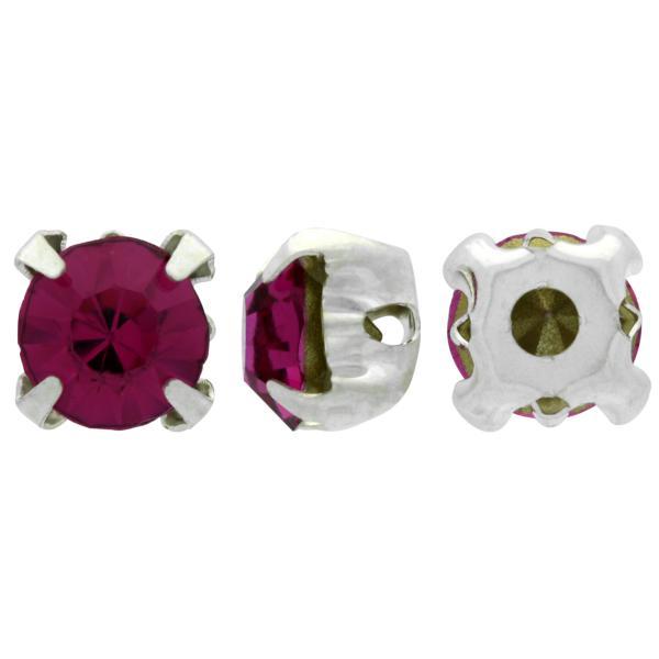 Sew On Rhinestones (in Settings) Chaton Montees SS20 Fuchsia/Silver