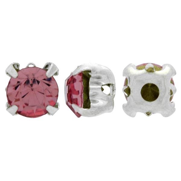 Sew On Rhinestones (in Settings) Chaton Montees SS12 Light Rose/Silver