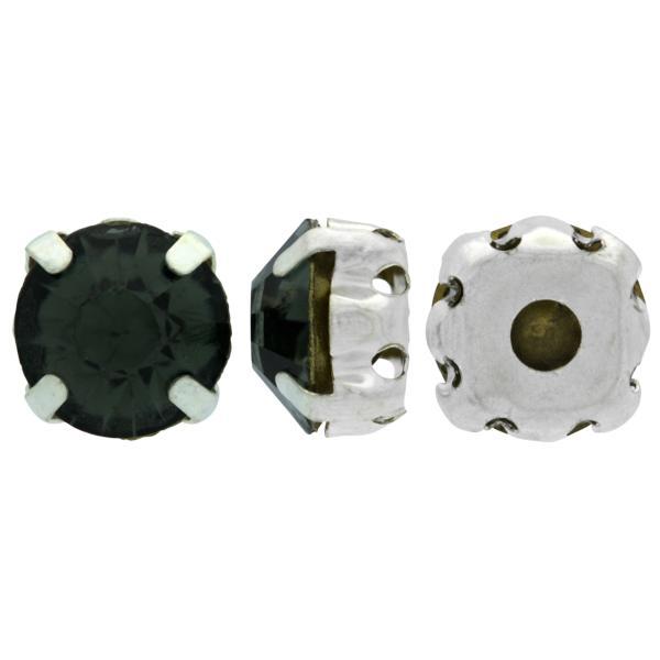 Sew On Rhinestones (in Settings) Chaton Montees SS16 Black Diamond/Silver