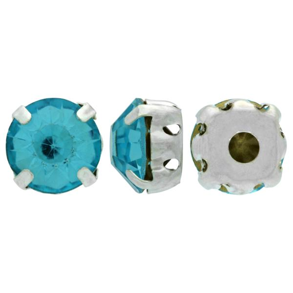 Sew On Rhinestones (in Settings) Chaton Montees SS12 Light Turquoise/Silver