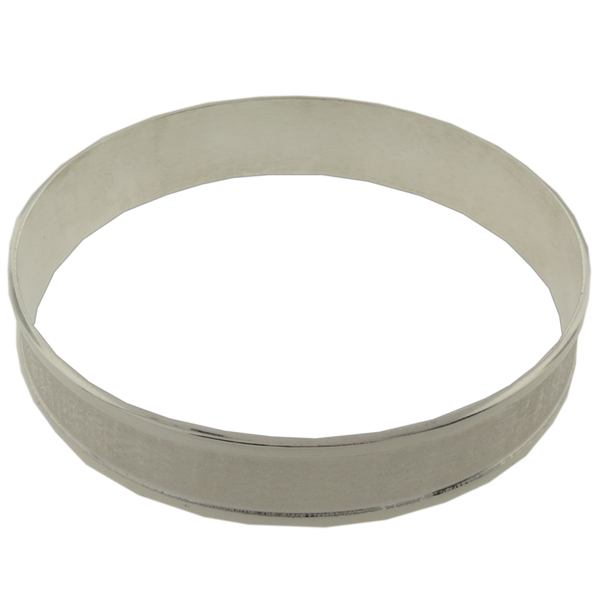 9mm Wide Channel Bangle Bracelet in Silver Size 8-1/2""