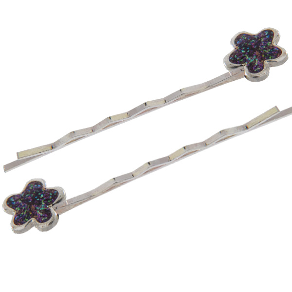Pair of Flower Bobbie Pins Purple