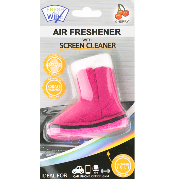 Boot Air Freshener with Microfiber Screen Cleaner - Pink