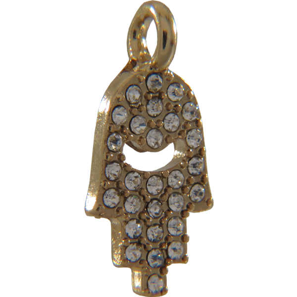 Beadelle® Charm Closed Hamsa with Loop 19 x 9 mm Gold/Crystal