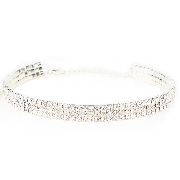 75611978b3 3 Row Rhinestone Choker Necklace Crystal /Silver