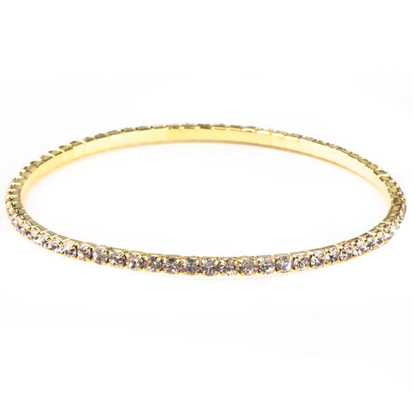 1 Row Bangle Rhinestone Bracelet, Crystal/Gold