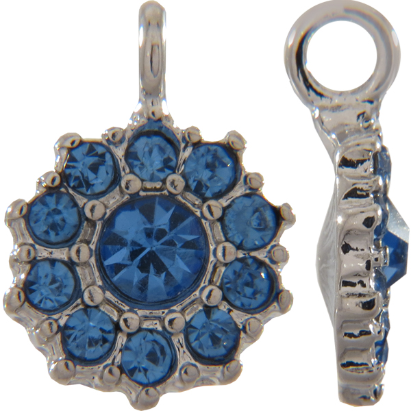 Beadelle® Daisy with Loop Fleurette 12 mm Silver/Light Sapphire