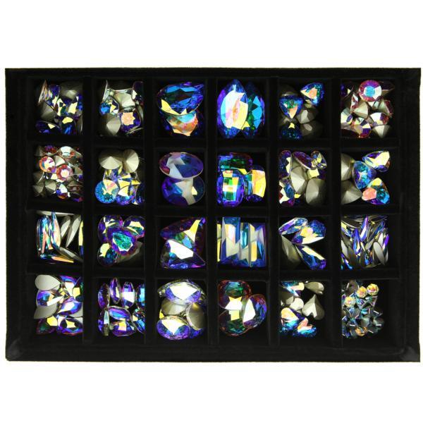Swarovski Crystals Nail Art DC Elite Kit - Tray with 24 Jars