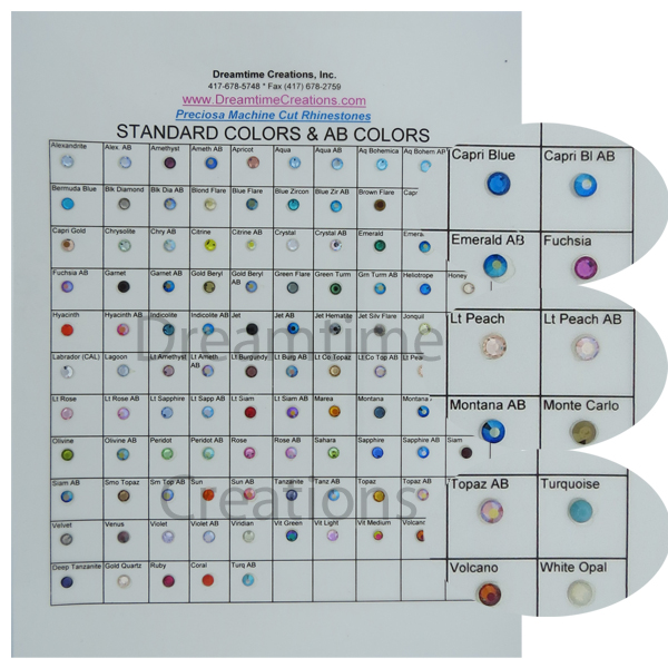 Rhinestone Color Chart Dreamtime Creations