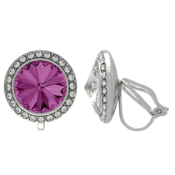 Crystalized with Swarovski Clip-On Earrings for Dance Amethyst/Crystal 15mm