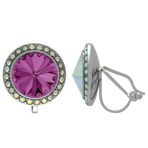 Crystalized with Swarovski Clip-On Earrings for Dance Amethyst/Crystal AB 13mm