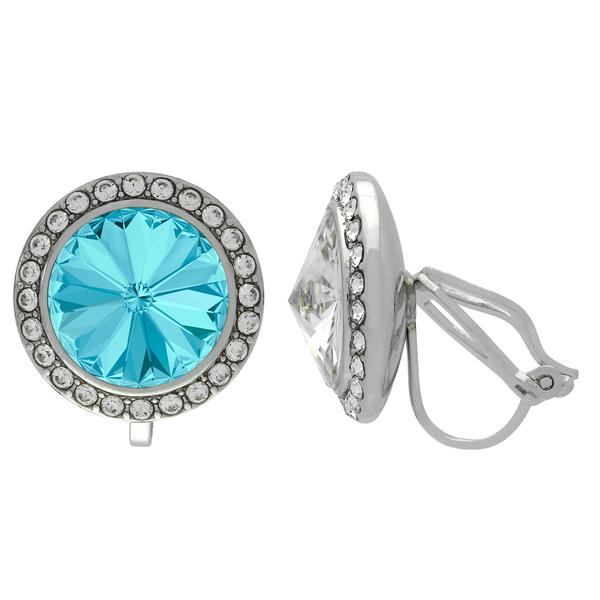 Crystalized with Dreamtime Crystal Clip-On Earrings for Dance Aquamarine/Crystal 15mm