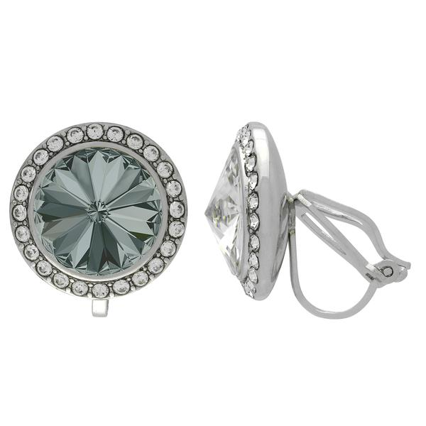 Crystalized with Dreamtime Crystal Clip-On Earrings for Dance Black Diamond/Crystal 15mm